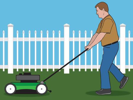 mow: Man pushing lawnmower across yard