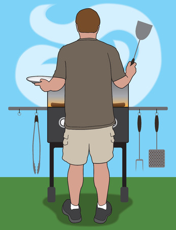 barbecue stove: Casually dressed man barbecuing meal in his backyard