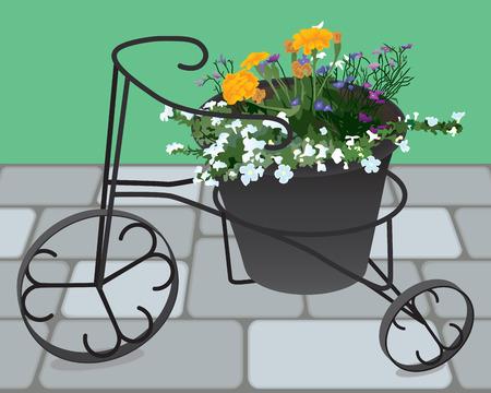 장식 단 철 화분에 꽃