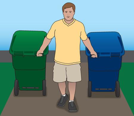 botes de basura: Hombre tirando botes de basura a su camino de entrada Vectores