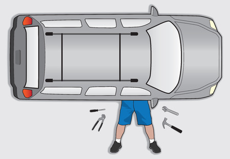 Aerial view of man attempting to do his own car repair