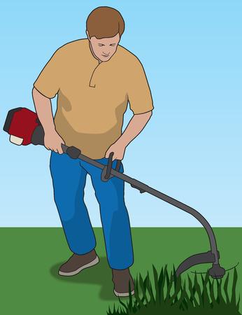 Man using weed whacker to trim weeds in yard Çizim