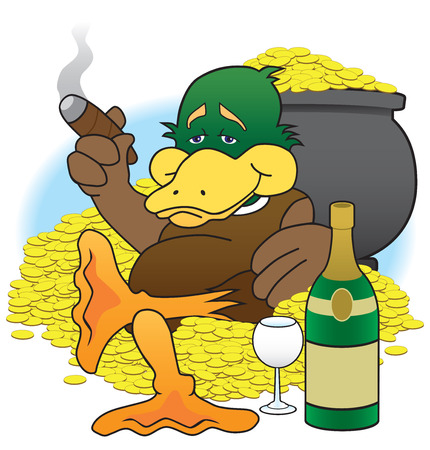 Lucky duck sitting amid his treasures enjoying his wealth