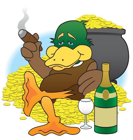 Lucky duck sitting amid his treasures enjoying his wealth