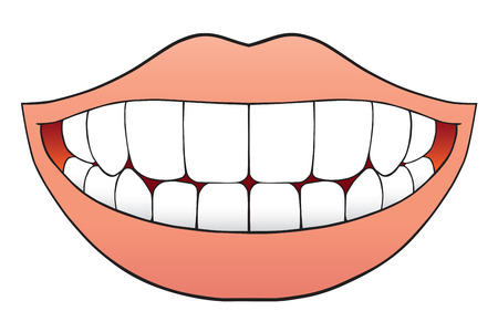 Mouth full of flawless teeth Stock Illustratie