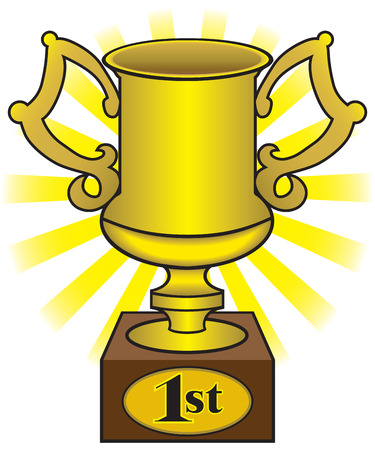 First place shiny gold trophy cup