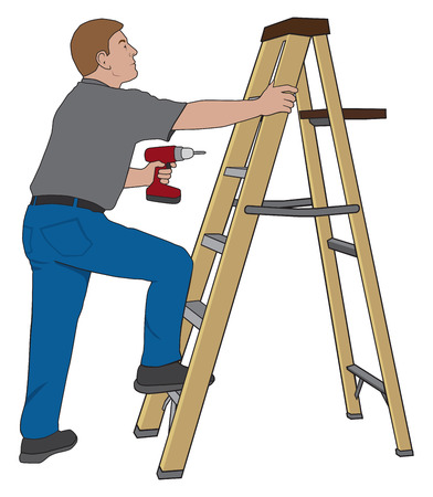 stepladder: Homeowner preparing to climb a stepladder and work on a project with his power tool