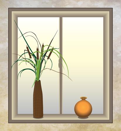 Artificial cattails in bathroom window next to an orange vase