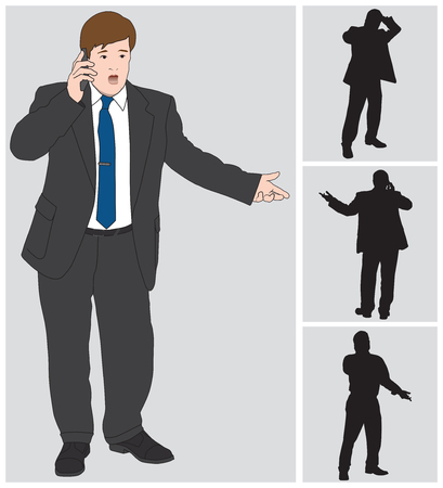 anxious: Businessman talking animatedly on his cell phone Illustration