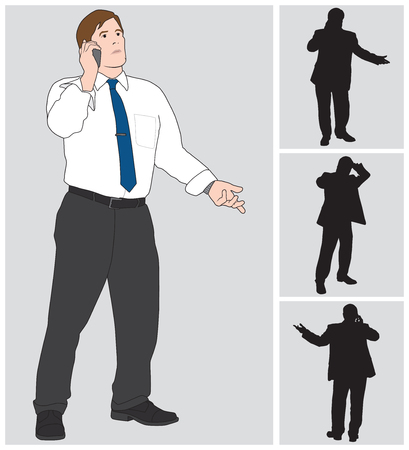 banter: Businessman with suit coat off talking on cell phone Illustration