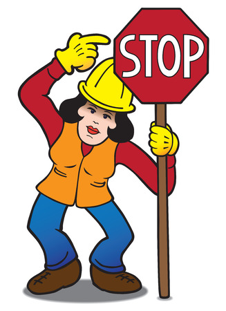 forewarning: Female flagger pointing at stop sign she is holding Illustration
