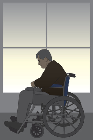 grieving: Man in wheelchair experiencing depression