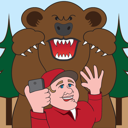 antagonistic: Man in woods taking picture of himself about to be attacked by a large bear