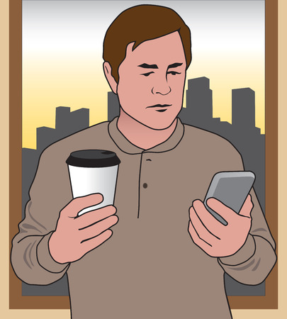 advising: Man in his office early in the morning checking for information on his cell phone Illustration
