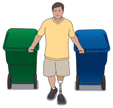 axles: Amputee homeowner pulling trash cans