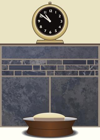 Soap dish resting on bathtub edge below clock resting on ledge above tiled wall