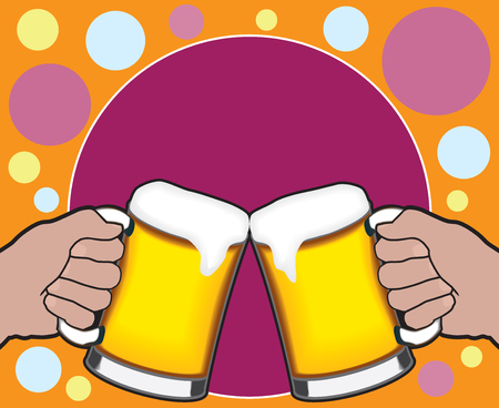 quench: Two beer mugs joining together in a celebratory toast with room for copy in the colorful background