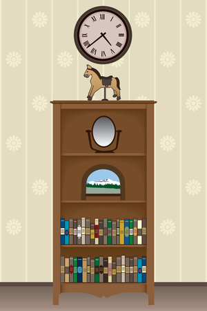 loaded: Bookcase loaded with books and knick knacks in living room under a clock