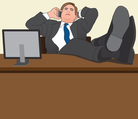 gazing: Businessman with feet up on his desk talking on his cell phone