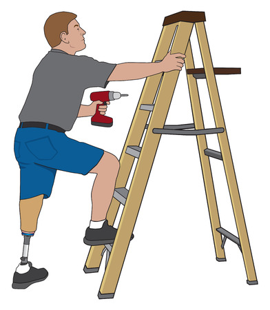 Left leg amputee preparing to climb a stepladder and make a repair with drill Çizim