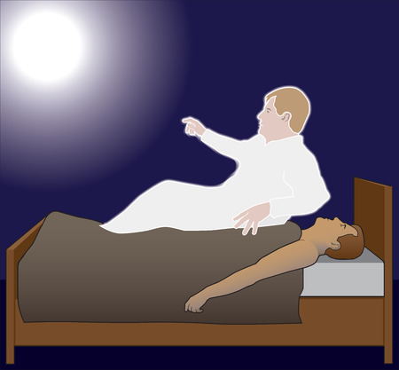 lying in bed: Mans spirit is rising out of his body and moving toward the light