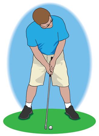 Golfer attempting to make challenging putt