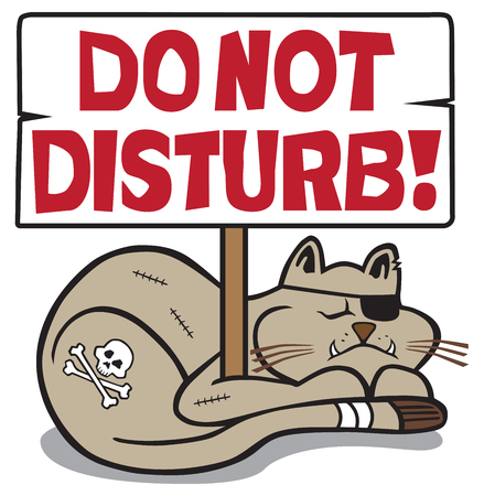 Tough, battered cat taking a nap under a do not disturb sign Illustration