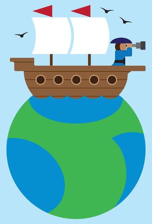 Cartoon captain of old time sailing ship exploring horizon with telescope