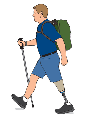 amputation: Amputee with walking stick and backpack taking a hike Illustration