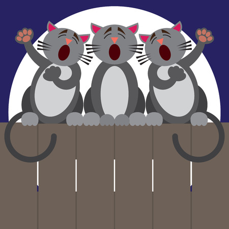 Three cats on a fence at night putting on a performance Vektorové ilustrace