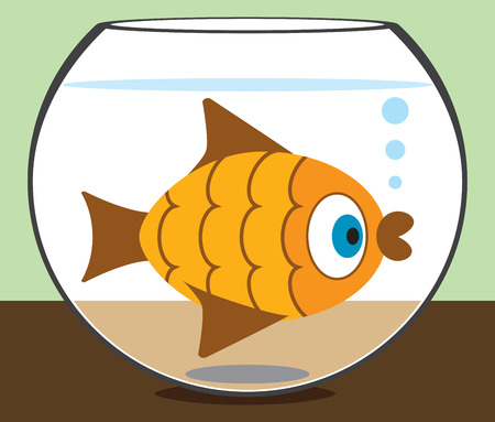 nostrils: Cartoon goldfish staring at the world from his bowl