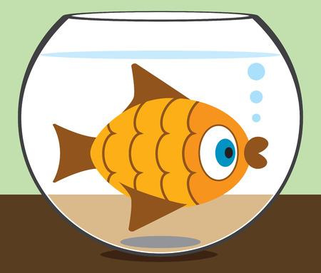 cramped: Cartoon goldfish staring at the world from his bowl