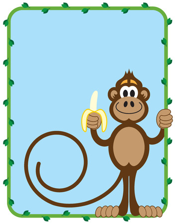 convivial: Monkey inside of vine frame with room for copy preparing to eat a banana