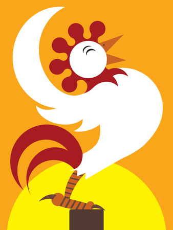 rooster at dawn: Happy cartoon rooster crowing as the sun rises