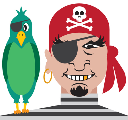 marauder: One eyed pirate with one eyed parrot on his shoulder Illustration