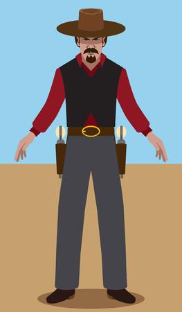 menacing: Flat vector gunslinger ready to draw Illustration