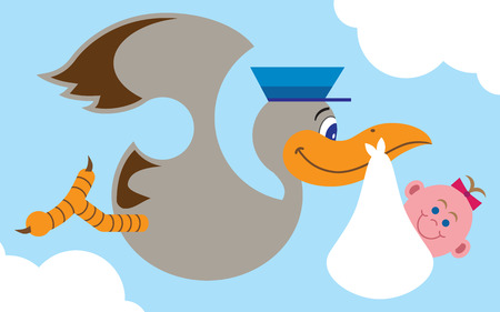stork flying with bundle: Flat vector cartoon stork carrying baby girl to her new home Illustration