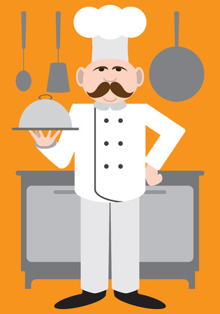 specialty: Flat Vector Chef presenting his specialty on a covered dish Illustration