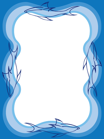 Stylized sharks swimming around rectangular white space with room for copy