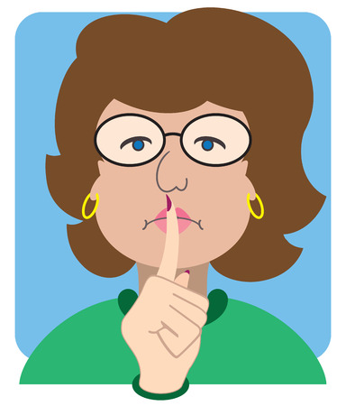 Stern cartoon librarian gesturing for silence