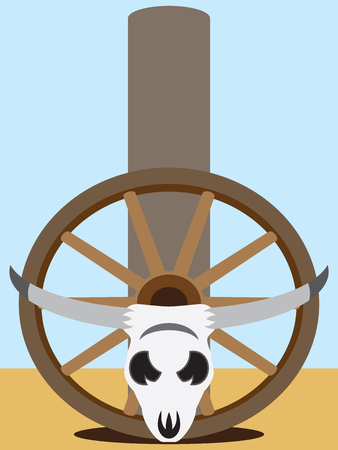 wagon wheel: Flat vector steer skull and wagon wheel resting against fence post Illustration
