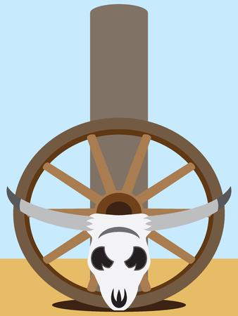 Flat vector steer skull and wagon wheel resting against fence post Ilustração
