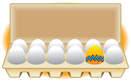 frill: Decorated Easter egg in a carton with other unpainted eggs