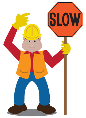 warning vest: Cartoon flagger pointing to a sign he is holding Illustration