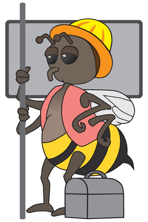 droopy: Weary worker bee riding home on mass transit after a hard days work