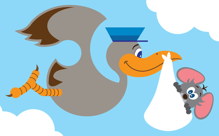 nostrils: Cartoon stork carrying baby mouse to his new home