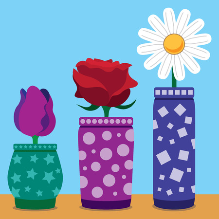 colorfully: Flat flowers in colorfully decorated vases