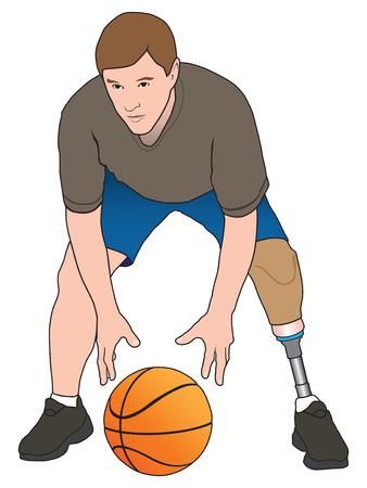 amputee: Left leg amputee playing basketball Illustration