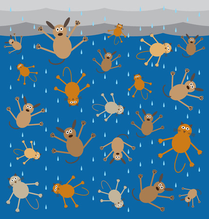 raining: Storm is so severe it is raining cats and dogs Illustration