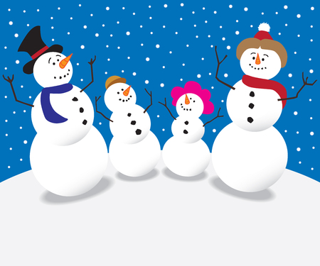 lighthearted: Cartoon family of snow people staring into the night sky Illustration